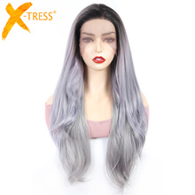 Wig Lace-Front X-TRESS Hairline Free-Part Straight-Hair Dark-Root Grey Natural Synthetic