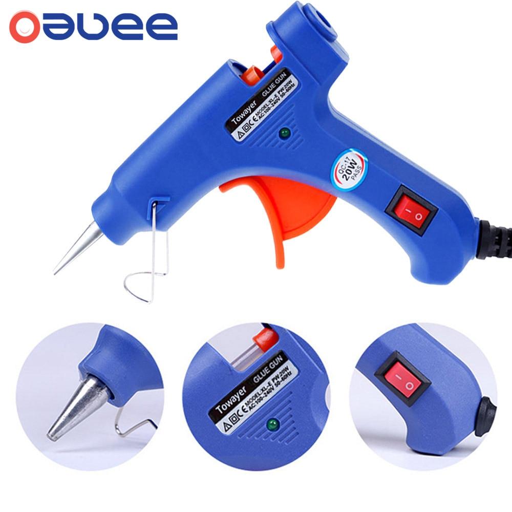 Oauee 20W Glue Gun with Glue Stick 7mm 200mm Glue Stick Mini Electric GunTemp Heater Melt Graft Repair Tool Heat TemperatureTool