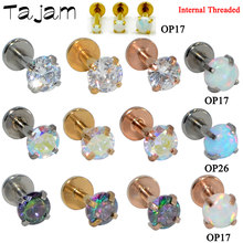 1PC Round Zircon Labret Stud Cartilage Earring Tragus Lip Ring 16G Monroe Internal Thread Earring Flat Bottom Piercing Jewelry(China)