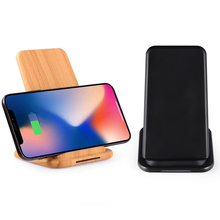 10W QI Wireless Fast Charger Standard For Apple Android Mobile Vertical Wood Wireless Charger Fast Charging For Huawei Xiaomi