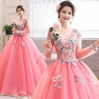 Long Sleeve Quinceanera Dresses V Neck Masquerade Ball Gown Tulle Sweet 16 Dresses vestido de 15 anos