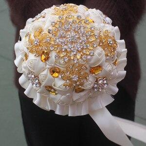 Image 2 - WifeLai A 1Piece Gold Crystal Ivory Cream Rose Brooch Wedding Bouquet Mariage BridalBouquet Pearl Flowers buque de noiva PL002