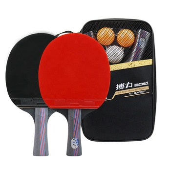 2PCS Ping Pong Racket Table Tennis Blade Long / Short Handle Pingpong Bat Set With 3 Balls Double Face Pimples In Rubber Blades 2pcs ping pong racket table tennis blade long short handle pingpong bat set with 3 balls double face pimples in rubber blades