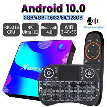 Transpeed Android 10 TV pudełko 2 4G i 5 8G Wifi 32G 64G 128G 4k 3D telewizor Bluetooth odbiornik odtwarzacz multimedialny HDR + wysoka jakość bardzo szybkie pudełko tanie i dobre opinie 100 M CN (pochodzenie) RK3318 Quad-kor 128 GB eMMC HDMI 2 0 4G DDR3 DC 5 V 2A Karty TF Do 32 GB Mali-450MP2 W zestawie