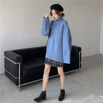 Ailegogo Autumn Winter Women Turtleneck Long Sweater Casual Female Knitted Loose Fit Pullovers Thick Warm Knitwear Ladies Tops 5