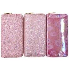 KANDRA – portefeuille de luxe en cuir Pu pour femmes, à paillettes, fermeture éclair, 2020, porte-monnaie, pochette pour téléphone, porte-carte