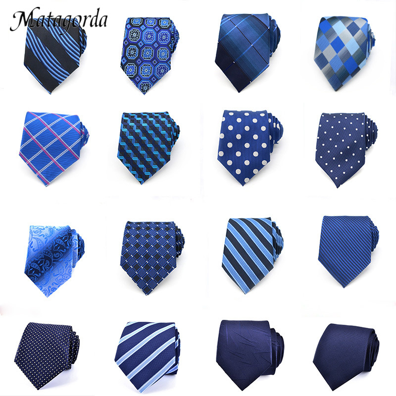 Mens Tie 8CM Blue Silk Neckwear Floral Dot Jacquard Woven Classic Neck Ties For Men Formal Business Wedding Party Groom Gift