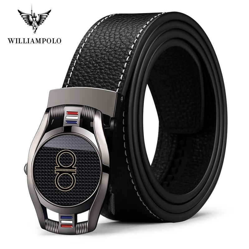 Williampolo 2019 Genuine Leather Belt Fashion Alloy Automatic Buckle Cinto Masculino Original Brand PL18319P