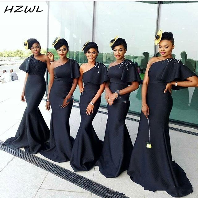 African Black Mermaid Bridesmaid Dresses With One Shoulder Satin Short Sleeves Beads Country Wedding Guest Gowns African Vestido
