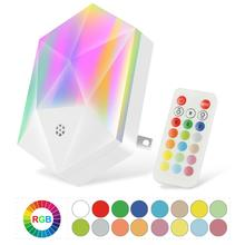 LED Night Light Plug in Remote RGB Color Changing Plug-into Wall Lights with 16 Colors Timer