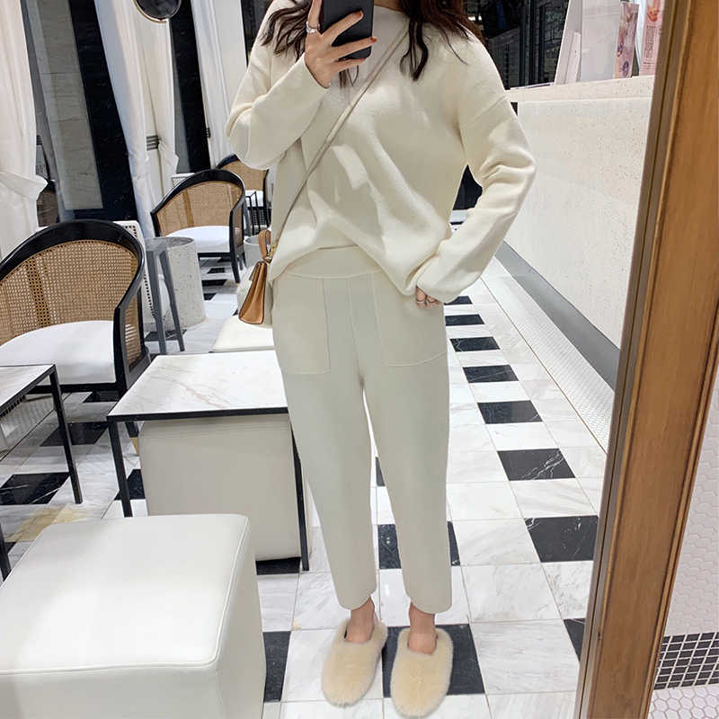 Women's sweater two-piece knit suit slim sportswear 2019 spring and autumn fashion Sweatshirt women's suit