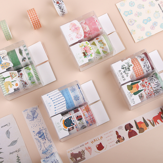 4pcs/lot Kawaii Washi Tape Set Fall Plant Masking Tape for Planner Bullet Journal DIY Stickers Scrapbooking Stationery Stickers 2