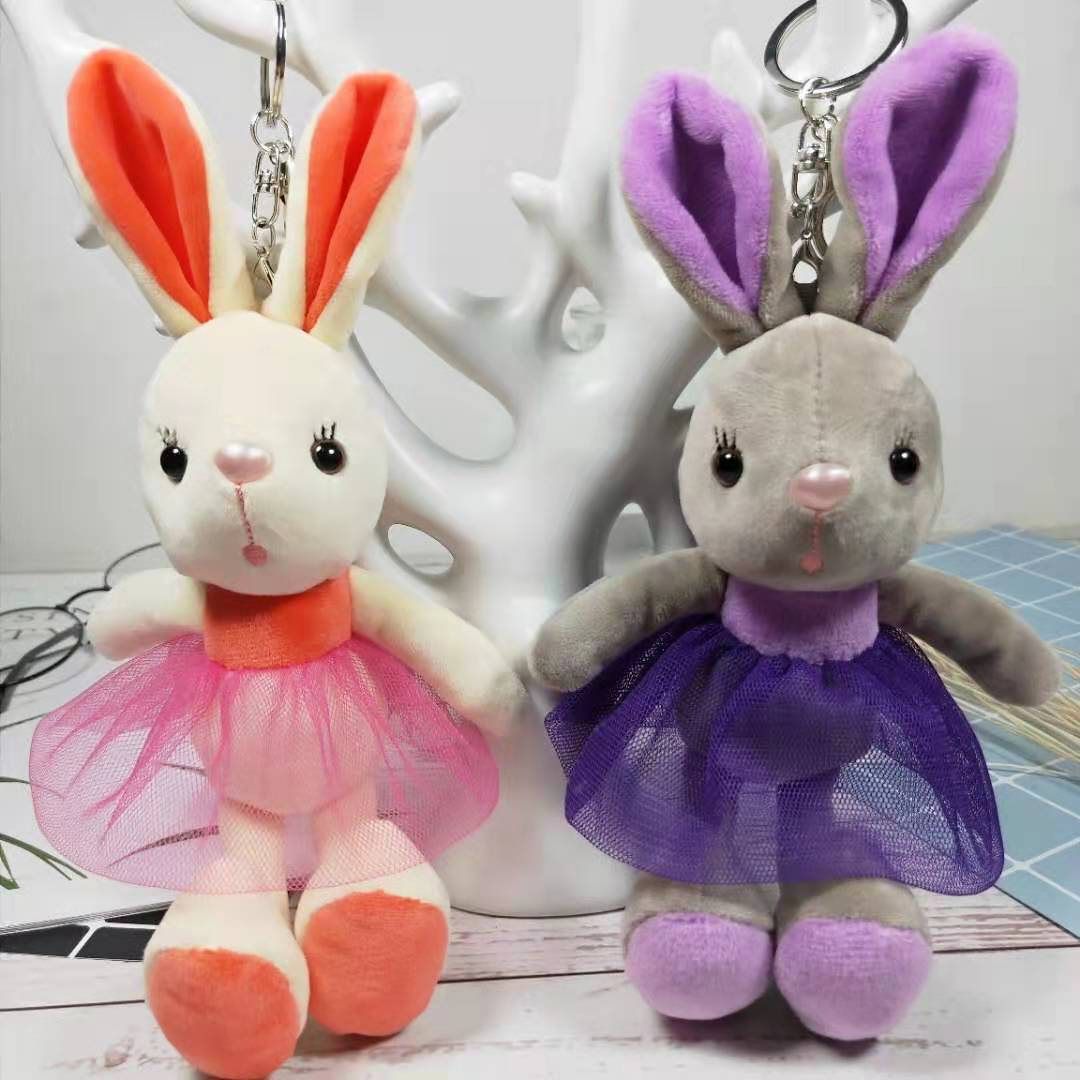 New Mini Rabbit Stuffed Toy in Dress Rabbit Key Chain Kid's Party Plush Toy Bouquet Kawaii Plush Dolls Cute Bunny Small Pendant