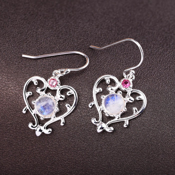 silver product cross-border sales 925 sterling silver earrings wholesale fashion and women's moonstone and collars