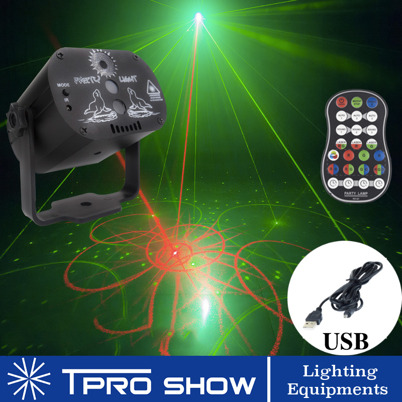 60 Patterns Laser Projector RGB LED Disco Light Strobe Remote Lazer Projection Lamp Music Stage Lighting Effect For Dance Party