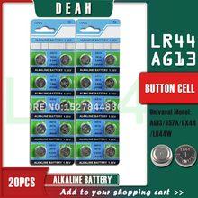 Bateria alcalina ag 13 lr44w lr1154 sr44 a76 357a 1.55 303 baterias da moeda da pilha de 20 pces deah 357 v ag13 lr44 para relógios brinquedo