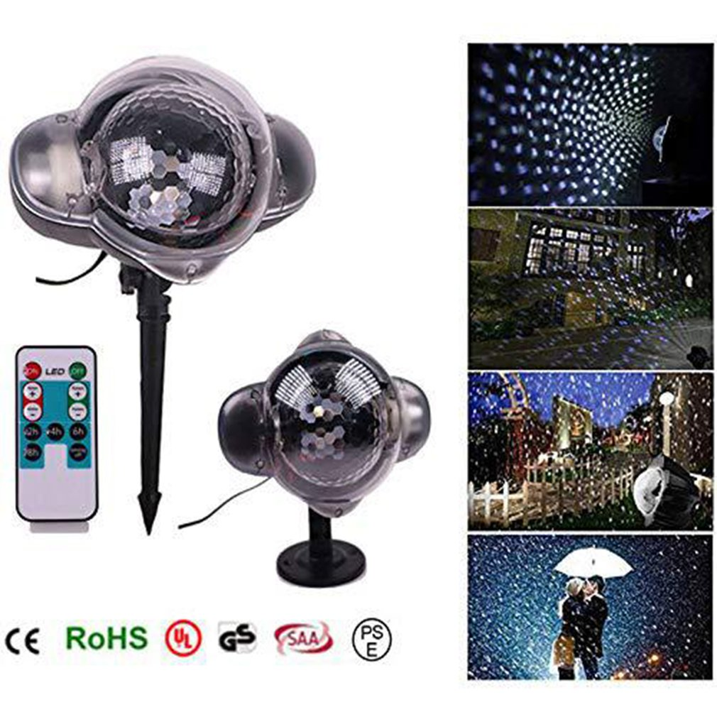 Mini Snow Light Snowflake Projection Lamp Led Outdoor Waterproof Lawn Laser Light Christmas Day Projection Lamp US/EU/UK/AU Plug