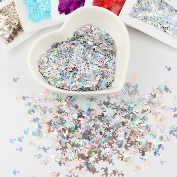 Ultra Thin 5mm Umbrella Nail Glitter Sequins Paillette Laser Silver Sequin Flower Nails Art Manicure Material image