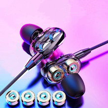 Dual Drive Stereo Wired Earphone In-Ear Sport Headset with Mic Mini Earbuds Handsfree Earphones for IPhone Samsung Huawei Xiaomi