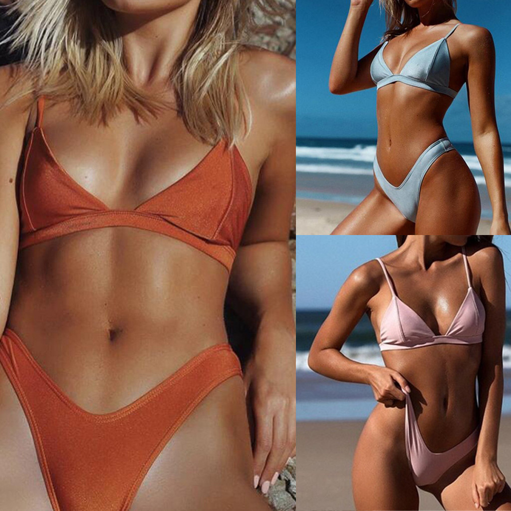 Popular Solid <font><b>Sexy</b></font> Swimming Suit For Women High Quality Two-Piece Swimsuit Hot Sale Fashion Swimwear <font><b>Bikini</b></font> Set Plus Size <font><b>XL</b></font> image