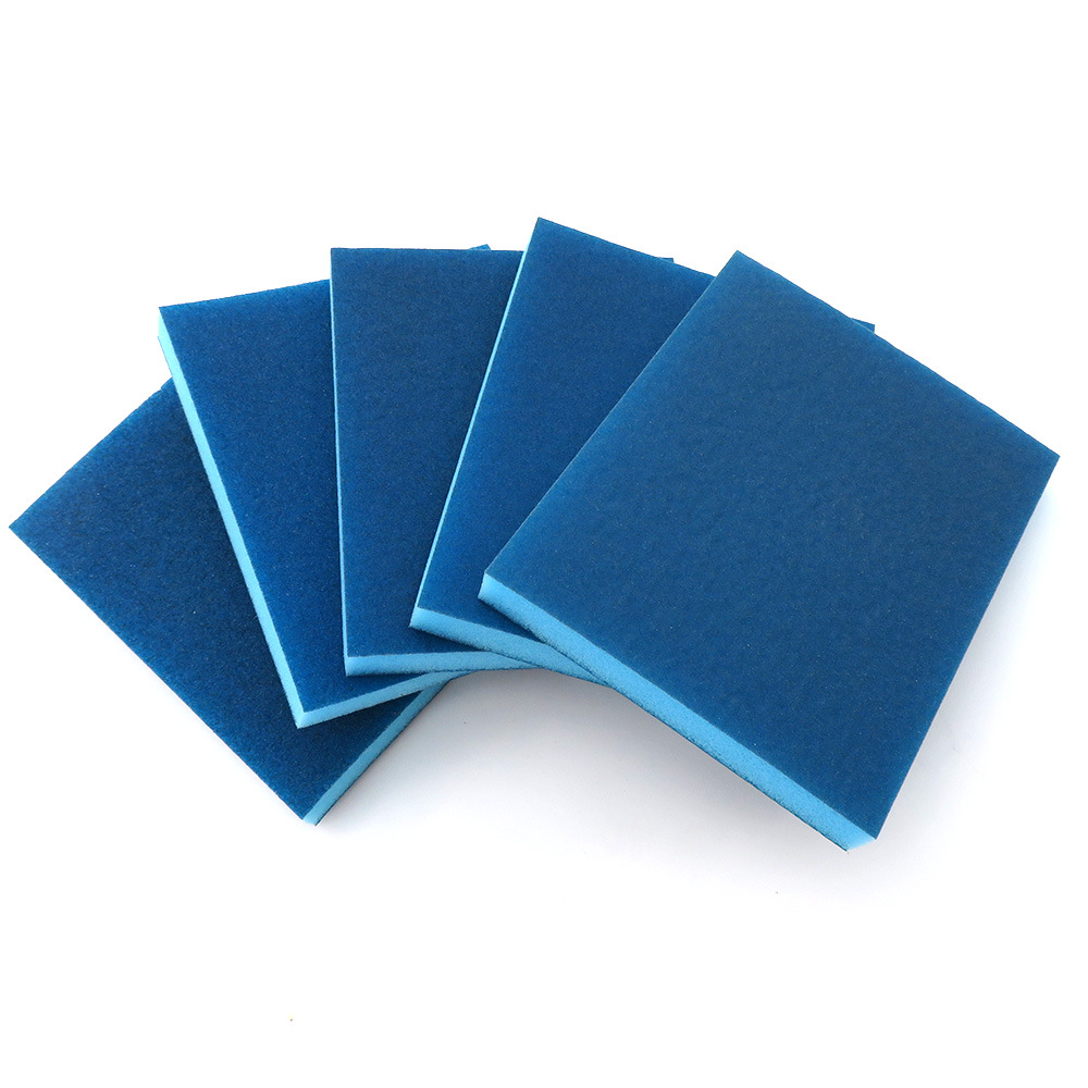 100*120 Blue Double-Sided Sanding Sponge Curved Surface Polishing Rust Removing Scouring Polishing Convex Surface Buffer Sandpap