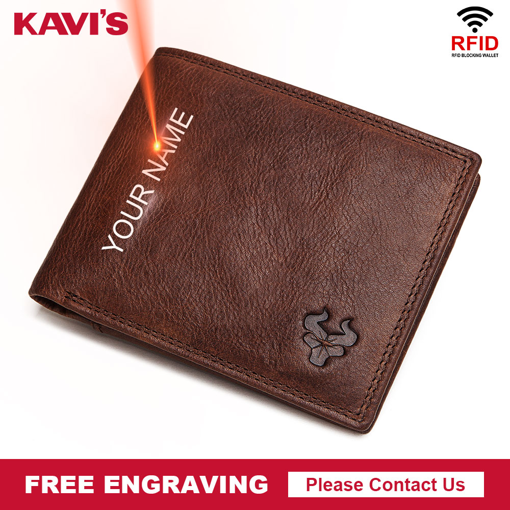 GZCZ Cow Leather Men Wallet With Coin Pocket Vintage Male Purse Function Brown Men Wallet With Card Holders Free Engraving