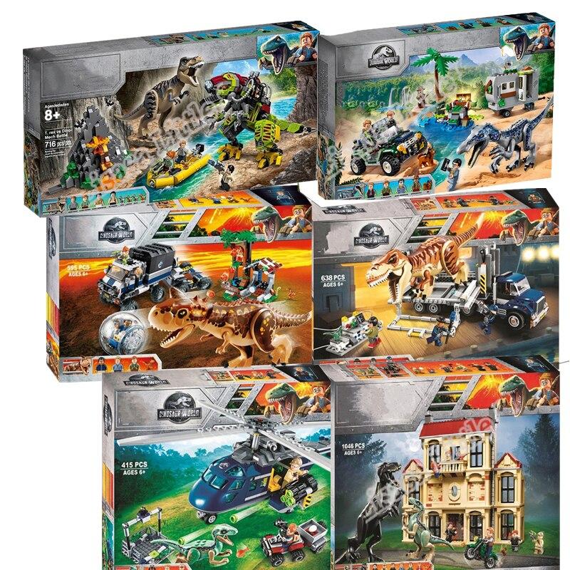 2019 New Jurassic World Dinosaur Tyrannosaurus Rex T. Rex Transport Triceratop Building Block Bricks Toy For Children
