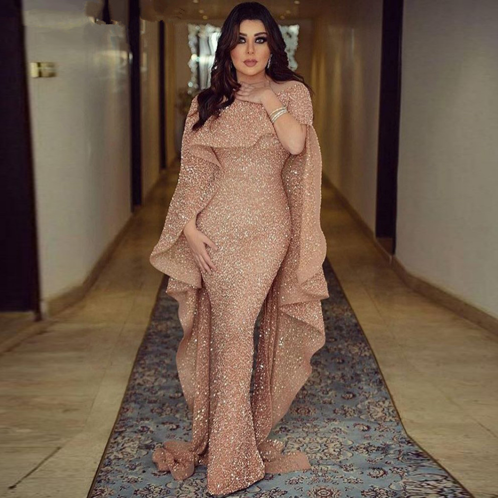 Sparkly Glitter Sequin Evening Dress Long 2019 Mermaid Rose Gold Dubai Saudi Arabic Formal Dress Prom Party Gown Robe De Soiree