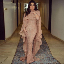 Sparkly Glitter Sequin Evening Dress Long 2019 Mermaid Rose Gold Dubai Saudi Arabic Formal Dress Prom Party Gown Robe De Soiree(China)