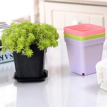 1pc 7cm Fleshy Color Plastic Flower Pot Square Seedling Tools Cultivation Gardening With Small Square Tray Plant Pot Pot Y5L9 image