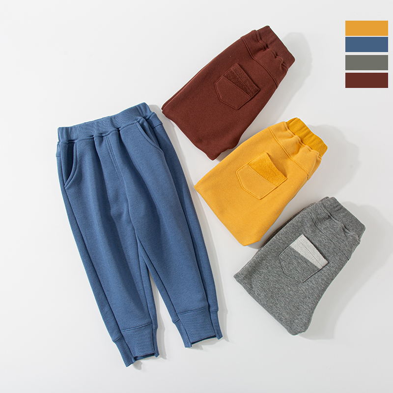 Baby Single Layer Brushed Trousers Autumn And Winter Models Boys And Girls Wear Casual Pants 2-8 Years Old Sports Pants 6 Fashio