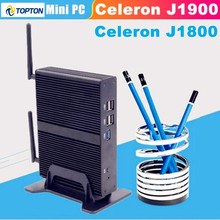 Celeron J1900 J1800 2,41 GHz Mini EGLOBAL PC quad Core HDMI VGA pantalla Mini computadora Windows 7 diseño sin ventilador 1080P TV box pc