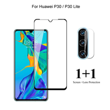 For Huawei P30 Lite / P30 Front Screen Protector Protective Tempered Glass & Camera Lens Film