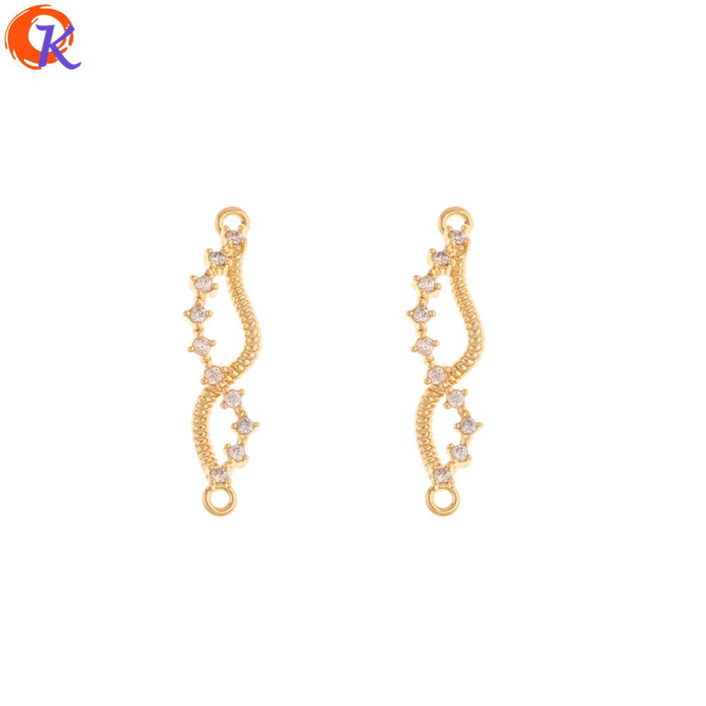 Cordial Design 30Pcs 6*24MM Jewelry Accessories/Hand Made/CZ Charms Connectors/Genuine Gold Plating/DIY Making/Earring Findings
