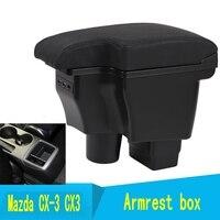 Para mazda CX-3 caixa de apoio de braço mazda CX-3 cx3 2014-2019 universal carro apoio de braço central caixa de armazenamento suporte de copo cinzeiro acessórios