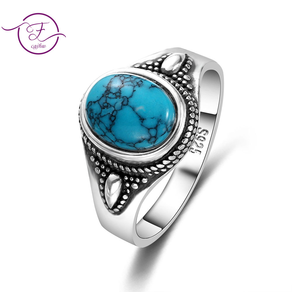 925 Sterling Silver Natural Turquoise Engagement Rings For Women Men Vintage Fine Jewelry Hot Sale Party Ring Gift