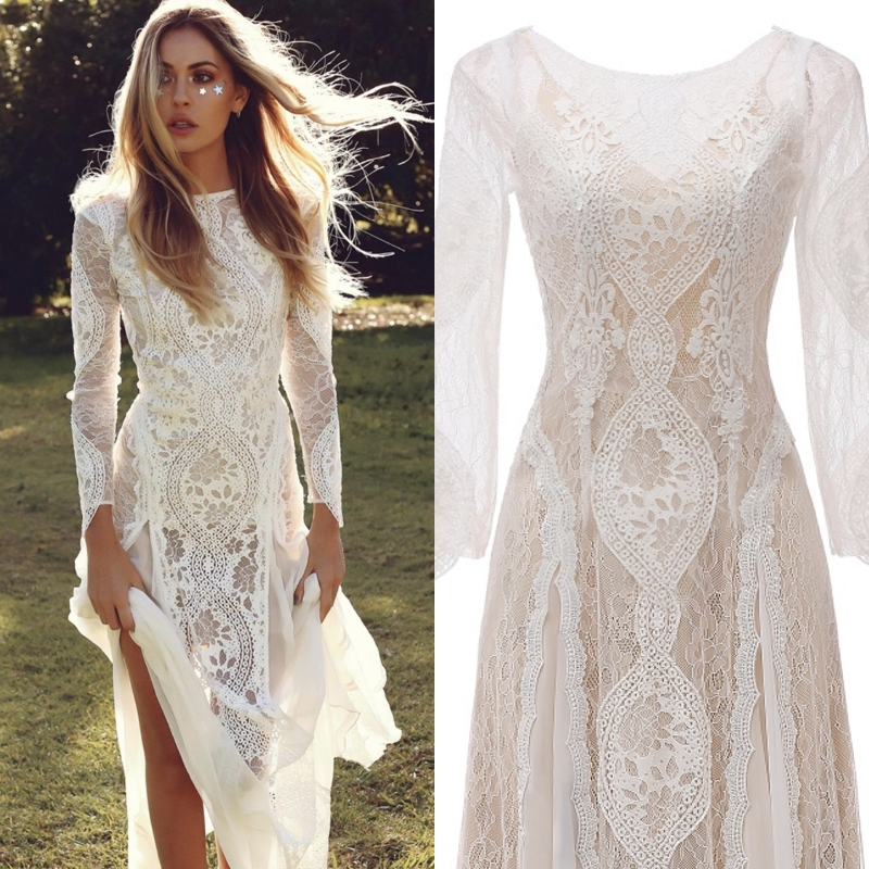 Bohemian Wedding Dress Long Sleeves Lace Outdoor Bride Wedding Gown A-line Floor Length Light Evening Dress