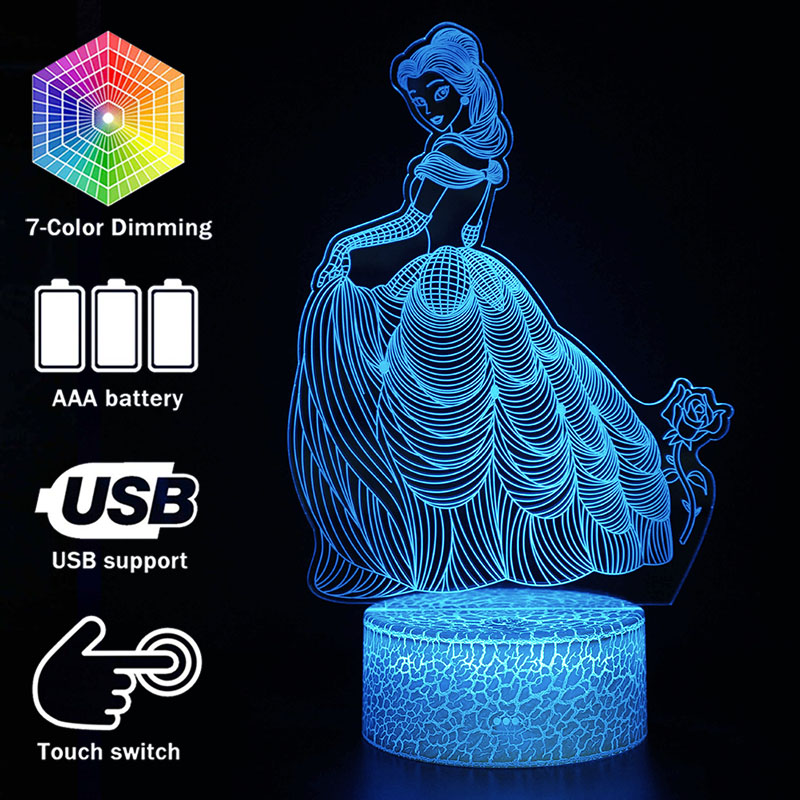 3D Illusion Princess Desk Lamp Touching LED Night Light Home Room Girls Cartoon Lampen Decoration Creative Table Lamps For Gift