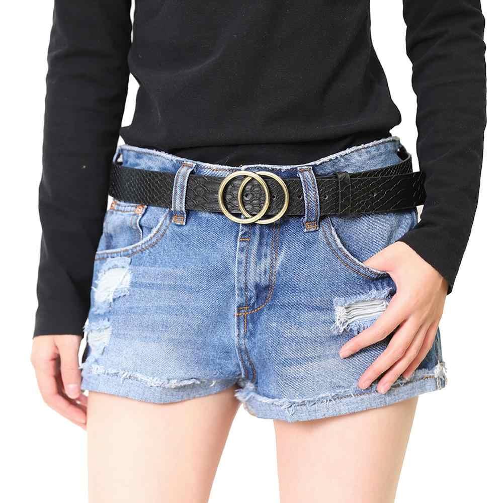 Pasy damskie do sukni mody trzy klamry skórzany pasek Cinturon Mujer do dżinsów