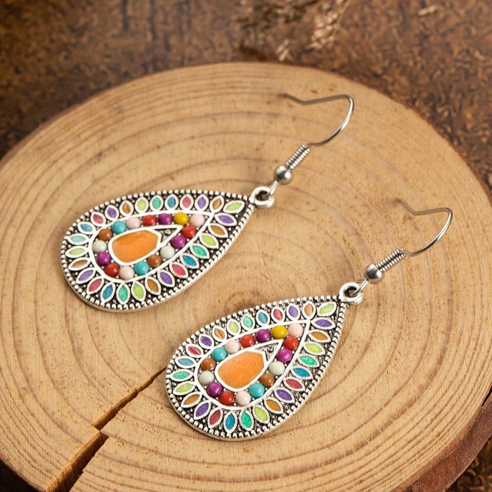 Ethnic Big Long Water Drop Earrings for Women Bohemian Vintage Metal Colorful Flowers Wedding Statement Earring Indian Jewelry (20)