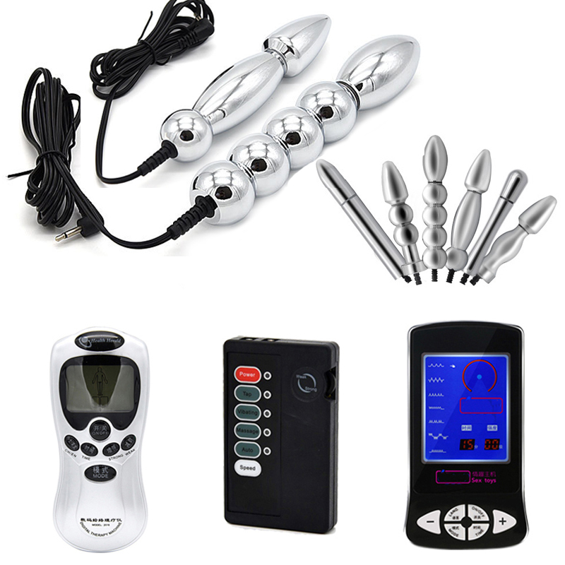 Electric Shock Anal Beads Plug Double Electrode Metal Prostate Massage G Spot Clitoris Stimulation Erotic Party Decoration
