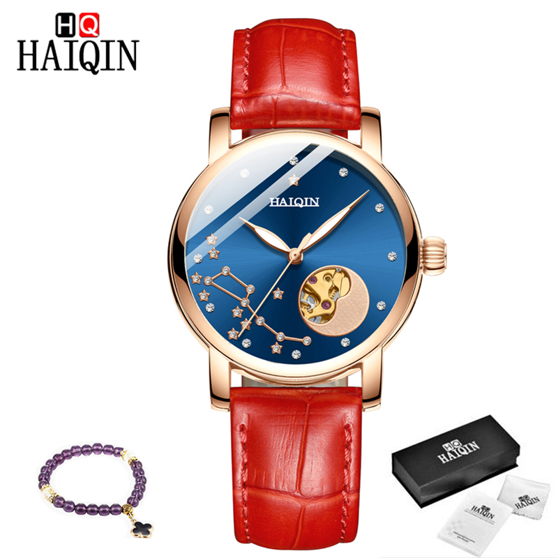 HAIQIN New Automatic Women's Watches Top Brand Fashion Watch Ladies Dress Hollow Mechanical Watch Women 2019 Relogio Masculino
