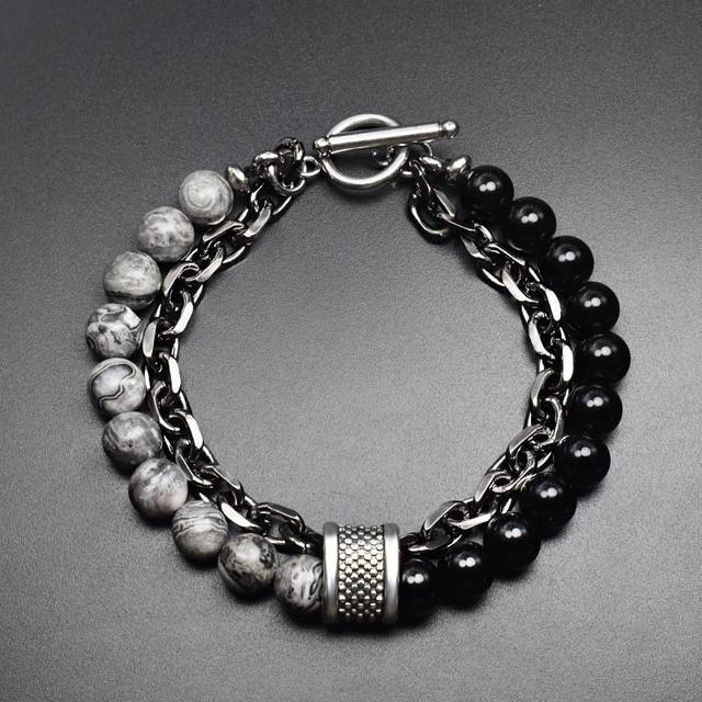 Offre spéciale naturel brillant noir mat pierre noir oeil de tigre lazurite ferroalliage chaîne combinaison bracelet pour hommes et femmes