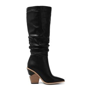 Image 4 - MORAZORA 2020 Hot marque genou bottes hautes femmes bout pointu épais talons hauts automne hiver bottes couleurs solides robe chaussures femme
