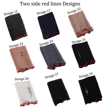 New arrival 2 sides red line mix design stretchy Jersey fabric Printing Scarf with stones for netherlands muslim women