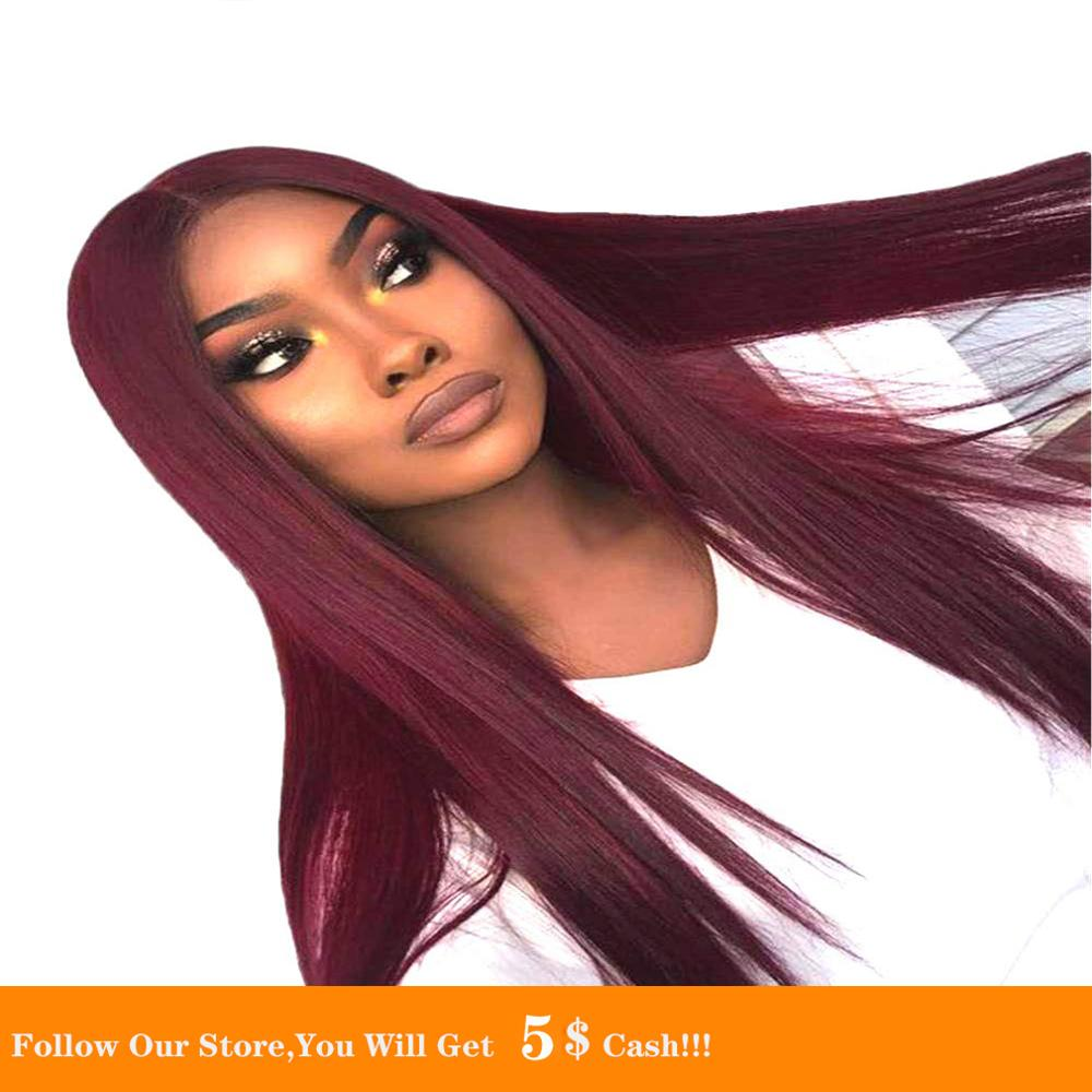 13x4 Long Silk Straight Natural 99J Synthetic Wigs For Black White Women Small Cap Size Heat Resistant Fiber Cosplay Hair