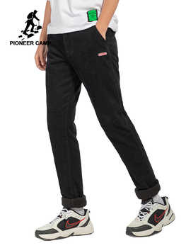 Pioneer Camp Black Causal Pants Men Straight Winter Thick Cotton Fitness Mens Trousers Male AXX907501