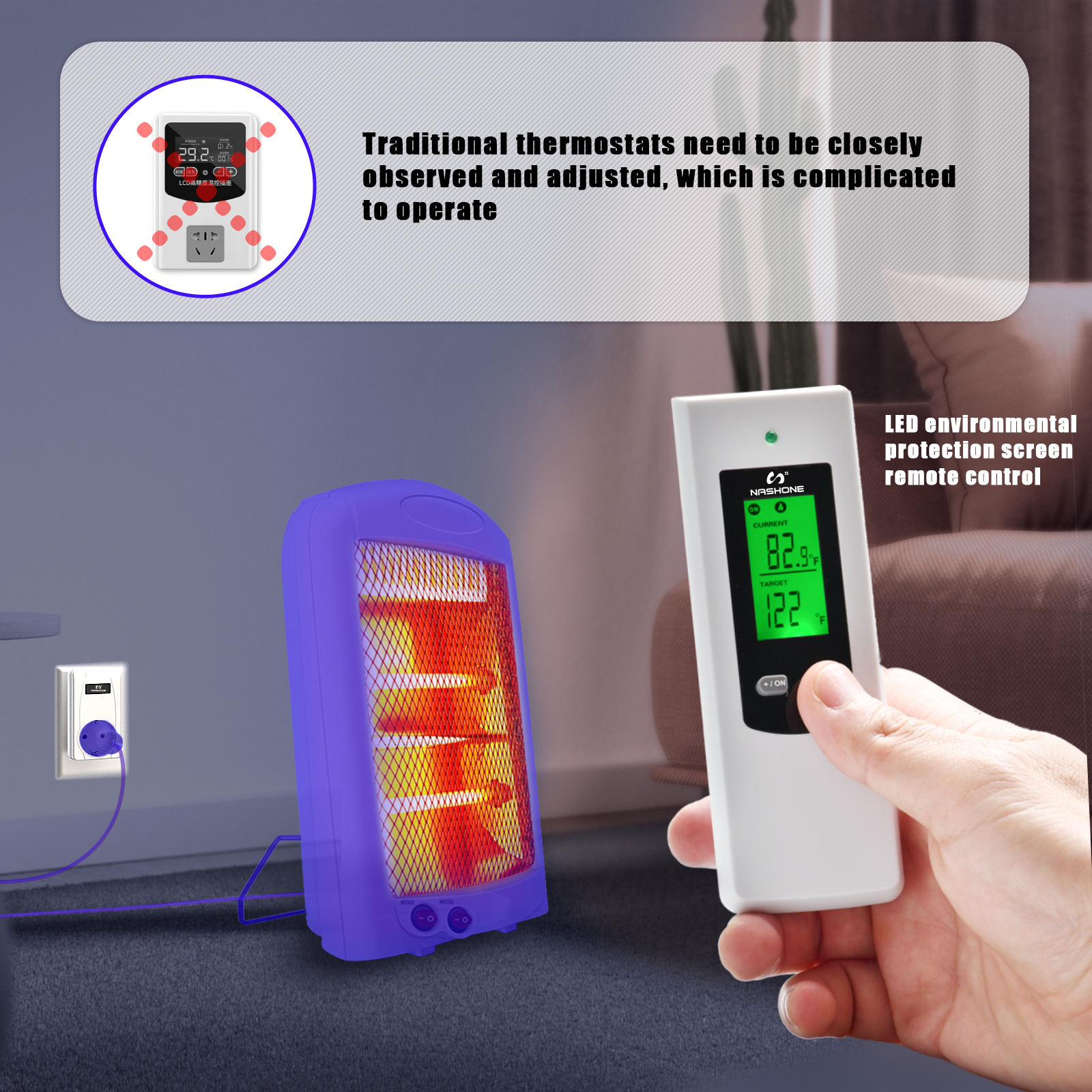 Temperature Control Thermostat 220V Nashone Digital Wireless Thermostat LCD Remote Temperature Controller socket with thermostat