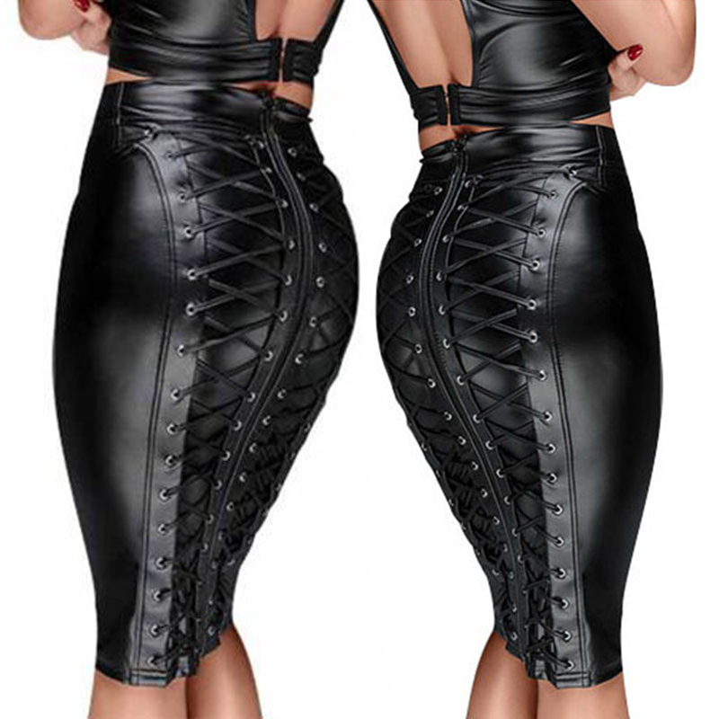 Womens PU Vinyl Bodycon Midi Skirt Ladies Night Out Party Wet Look Pencil Skirt