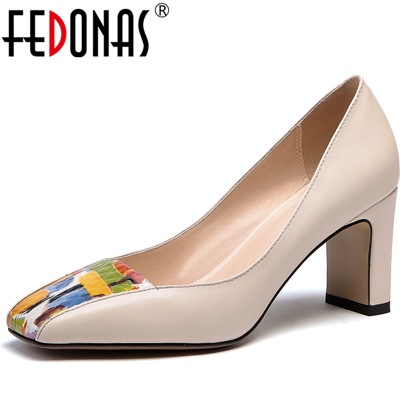FEDONAS Elegant Fashion Concise Women Cow Leather Pumps Wedding Casual Party New Mixed Colors Square Toe Shallow Shoes Woman